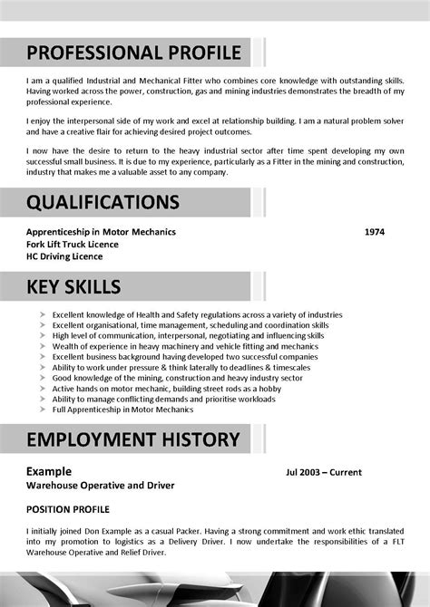Electrician Resume Template Australia by Resume Template Electrician Australia