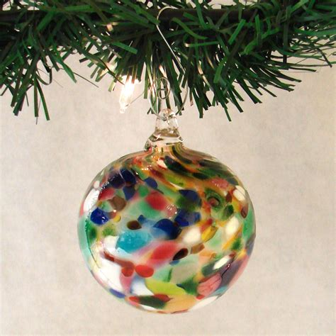 multi colored blown glass ornament
