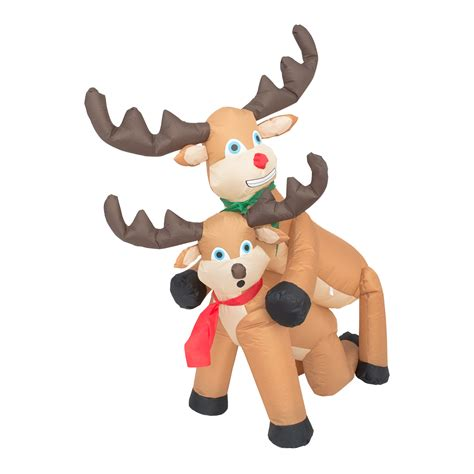 funny humping reindeer christmas lawn inflatable decoration