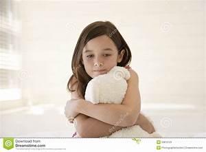 Sad Girl Hugging Teddy Bear Stock Photos - Image: 33815123