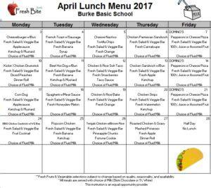 april breakfast lunch menus burke basic school