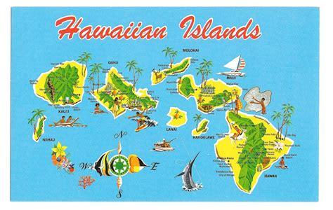 Hawaiian Islands Map Hawaii Kauai Maui Vintage Postcard 1983