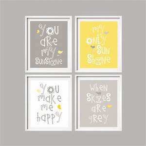 Sale yellow and gray wall art nursery decor prints by
