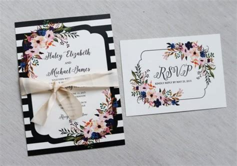 Modern Wedding Invitation Floral Wedding Invitation