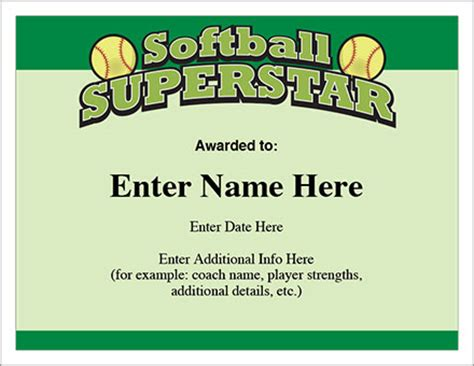 softball superstar certificate award template
