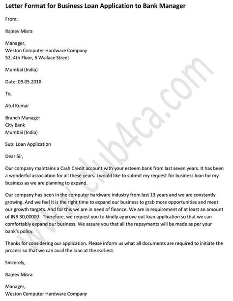 application letter  business loan  bank manager
