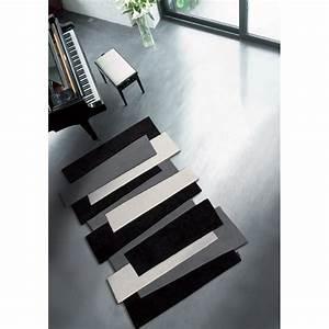 Grand Tapis Blanc : tapis sur mesure noir et blanc pebbles par angelo ~ Teatrodelosmanantiales.com Idées de Décoration