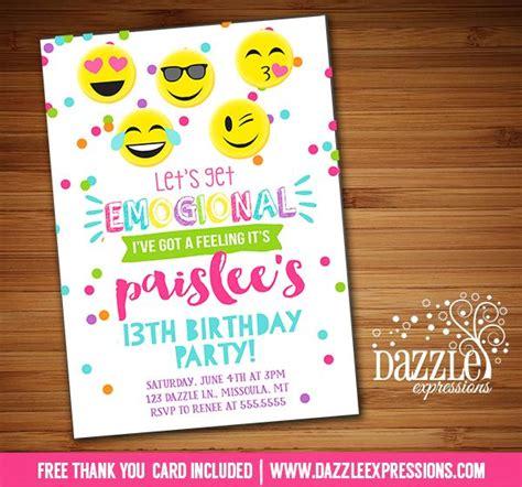printable tween emoji birthday invitation teen girl