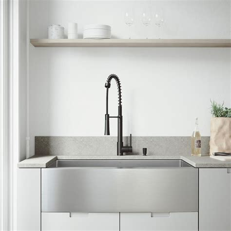 black stainless steel kitchen sink vigo all in one farmhouse stainless steel 36 in single 7906
