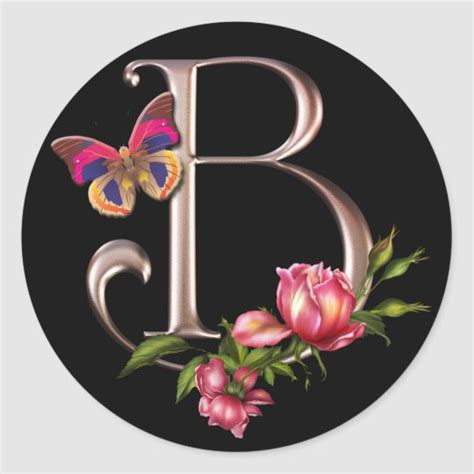 monogram letter   roses  butterfly classic  sticker zazzlecom