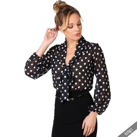 polka dot blouses retro polka dot pleated bow tie chiffon blouse