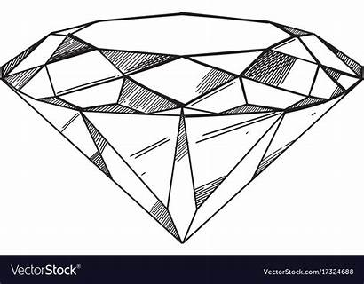 Outline Diamond Drawn Hand Vector Isolated Clip