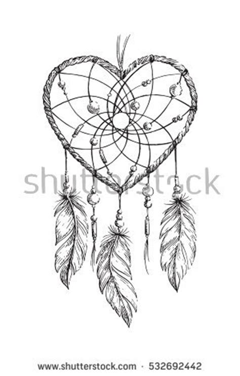 hand drawn ethnic dreamcatcher heart coloring stock vector