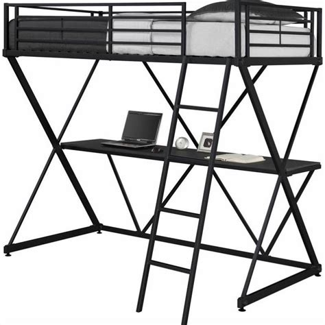 Metal Bunk Bed With Desk by X Shaped Metal Loft Bed In Black With Desk 5440096