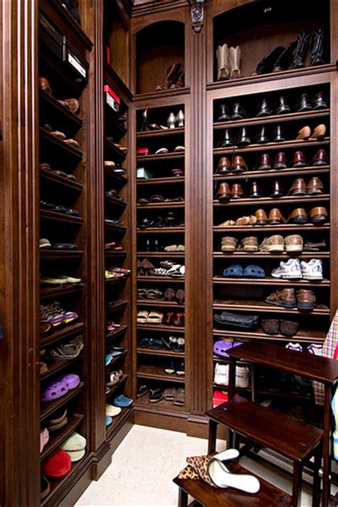built in shoe shelves transitional closet in detail