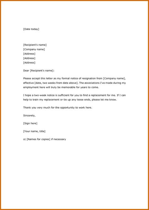 written two weeks notice 4 how to write two week notice letter lease template