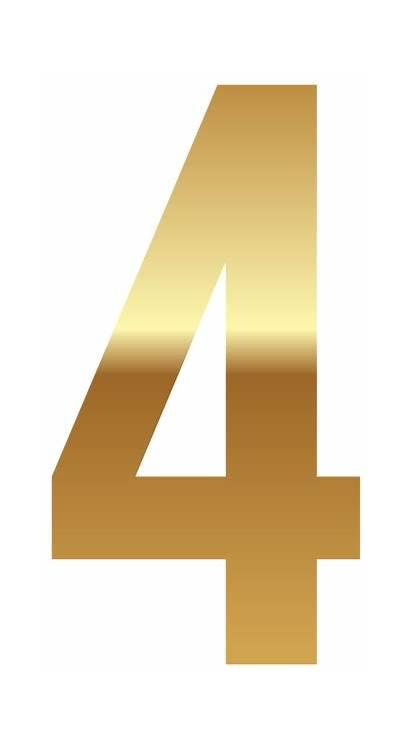 Number Golden Clipart Four Numbers Transparent Decorative