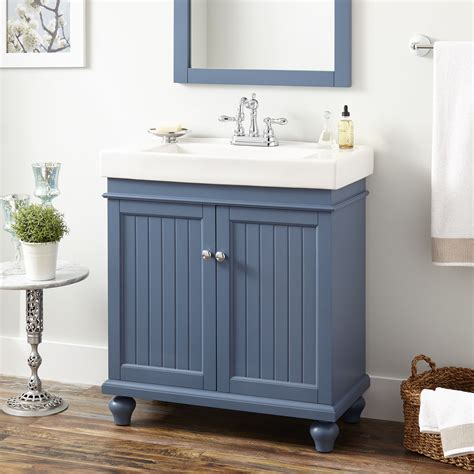 lander vanity cabinet blue bathroom