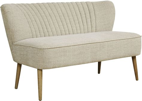 Mid Century Settee by Mid Century Kendrick Oatmeal Vertically Channeled Settee