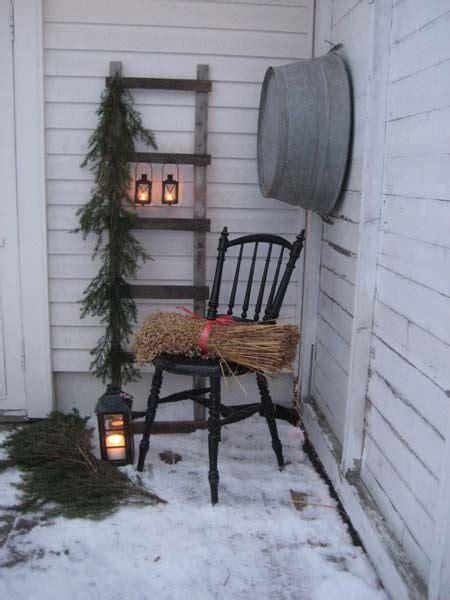 Husfruas Memoarer Winter Porch Display With Old Ladder