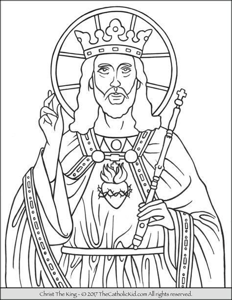 christ  king coloring page thecatholickidcom