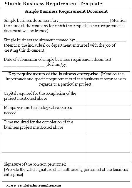 simple business requirements document