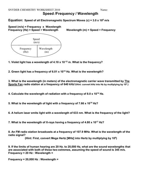 wavelength worksheet bluegreenish