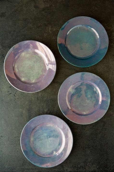 set   iridescent dessert plates iridescent decor
