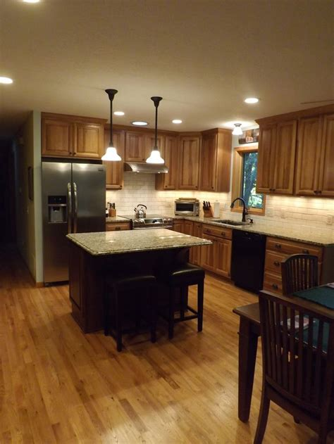 kitchen  granite counter tops hickory cabinets