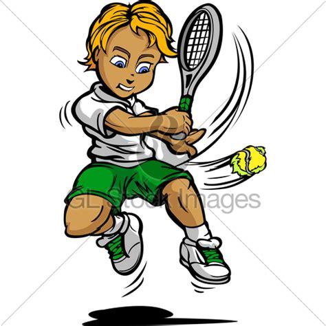 kid tennis player boy swinging racquet  ball gl stock images