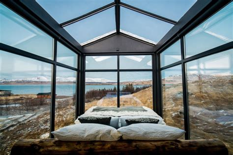 pictures of loft beds this glass cabin in iceland lets you the northern
