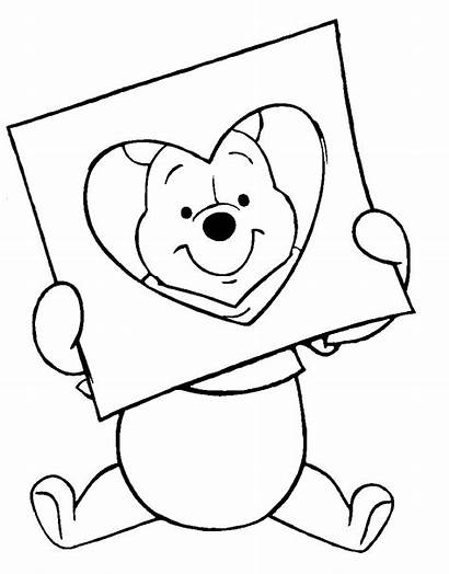 Pooh Coloring Valentines Winnie Pages Disney Valentine