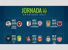 Fechas y horarios de la jornada 10 del Apertura 2017 de la
