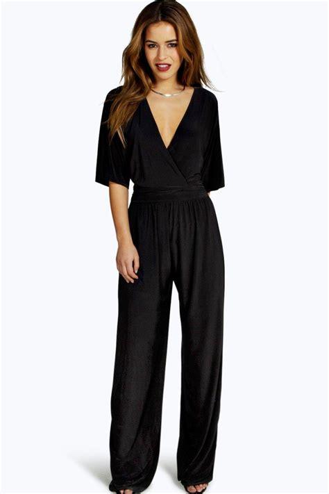 ebay jumpsuit boohoo womens wrap front wide leg jumpsuit ebay
