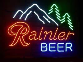 Rainier Mountain Fresh Pabst Lager Beer Bar Neon Light