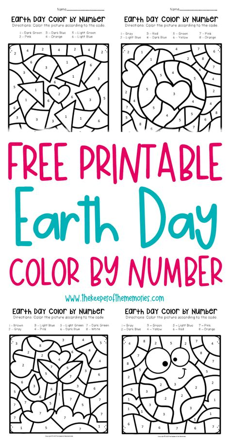 printable color  number earth day preschool