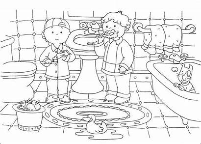 Caillou Coloring Pages Printable Sheets Bathroom Cartoon