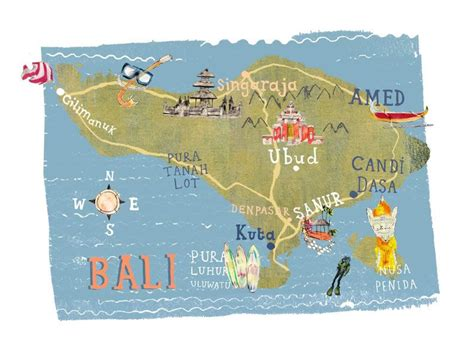 kate evans map  bali illustrated maps bali travel