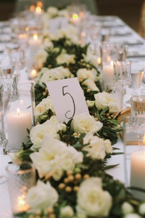 white floral table runners wedding inspiration board