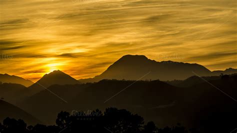 Sunset Behind The Mountains ~ Nature Photos On Creative Market
