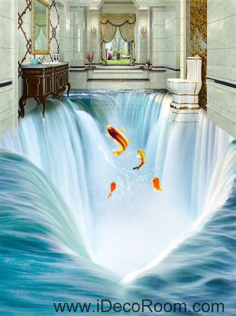 3d Wallpaper Sticker by Waterfall Fish Jumping 00034 Floor Decals 3d Wallpaper