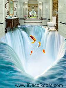waterfall fish jumping 00034 floor decals 3d wallpaper With kitchen cabinets lowes with 3d fish wall art
