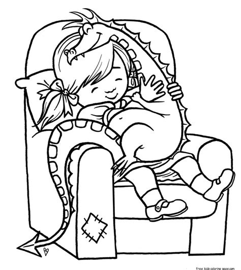 print  girl playing  toy dragon coloring pagefree