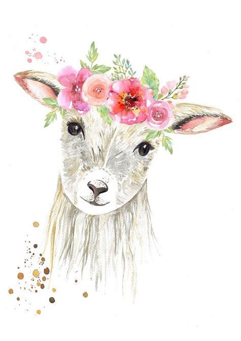 sweet lamb  flower crown print   crown