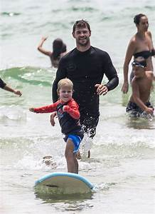 Chris Hemsworth Teaches His Son Sasha How To Surf Daily