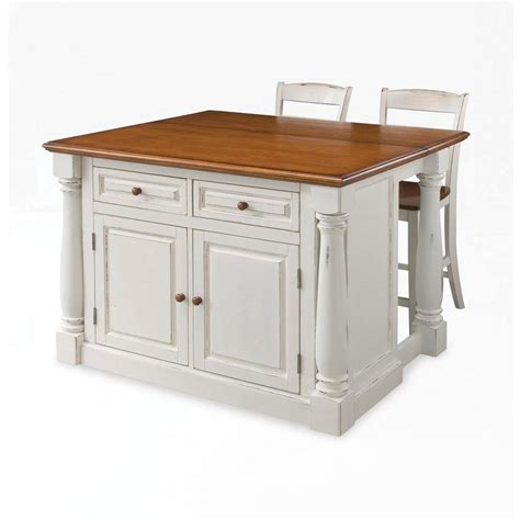 kitchen island cart with breakfast bar home styles seaside lodge rubbed white kitchen island