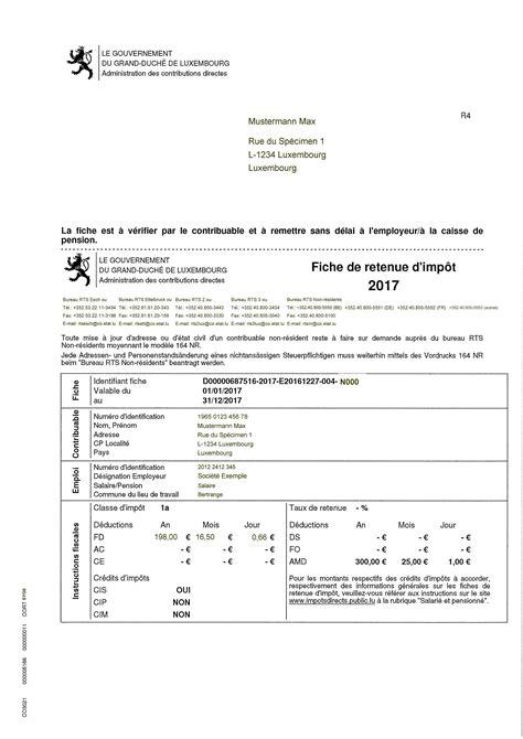 bureau des contributions directes luxembourg faq et spécimen d 39 une fiche de retenue d 39 impôt