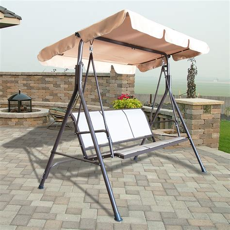 3 person canopy swing glider hammock patio furniture