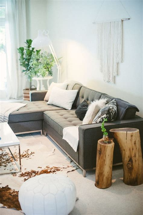 living room side table decor living room with log side tables and cow hide rug room