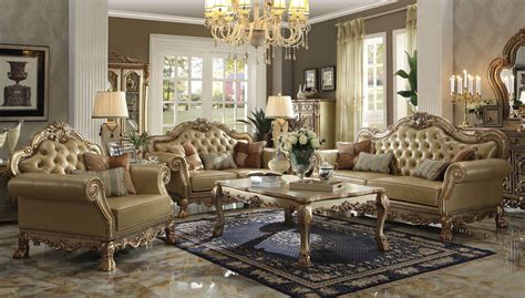 ACME 4 PIECE DRESDEN WOOD TRIM GOLD PATINA LIVING ROOM SET   eBay
